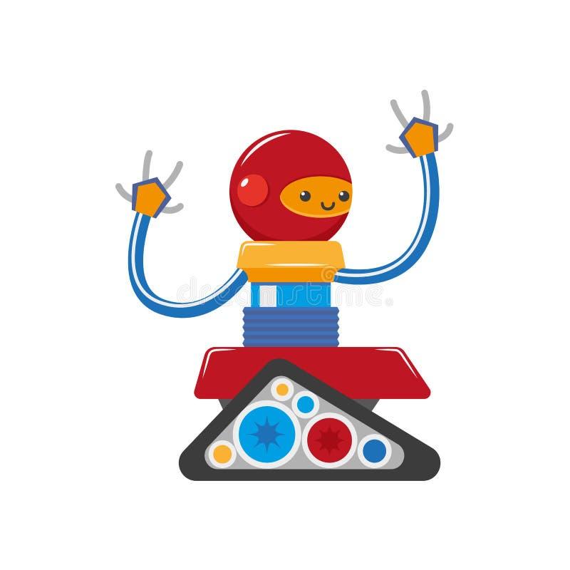 Robot för pojke för plan tecknad film för vektor liten rolig manlig stock illustrationer