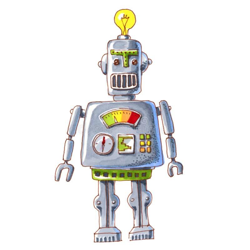 Robot för tecknad filmvattenfärgklotter vektor illustrationer