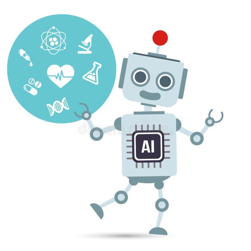 Robot för teknologi för konstgjord intelligens för AI med läkarundersökning royaltyfri illustrationer