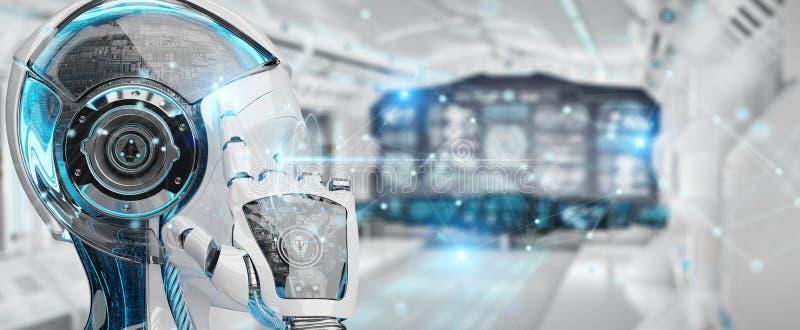 Robot för vit kvinna genom att använda tolkningen för anslutning för digitalt nätverk 3D royaltyfri illustrationer