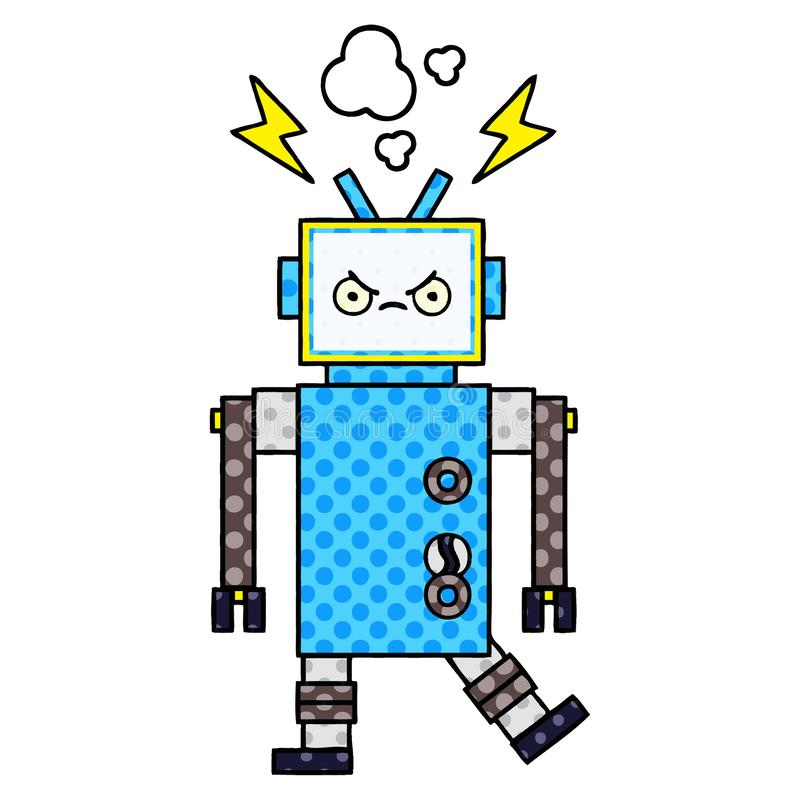 robot f?r humorbokstiltecknad film vektor illustrationer