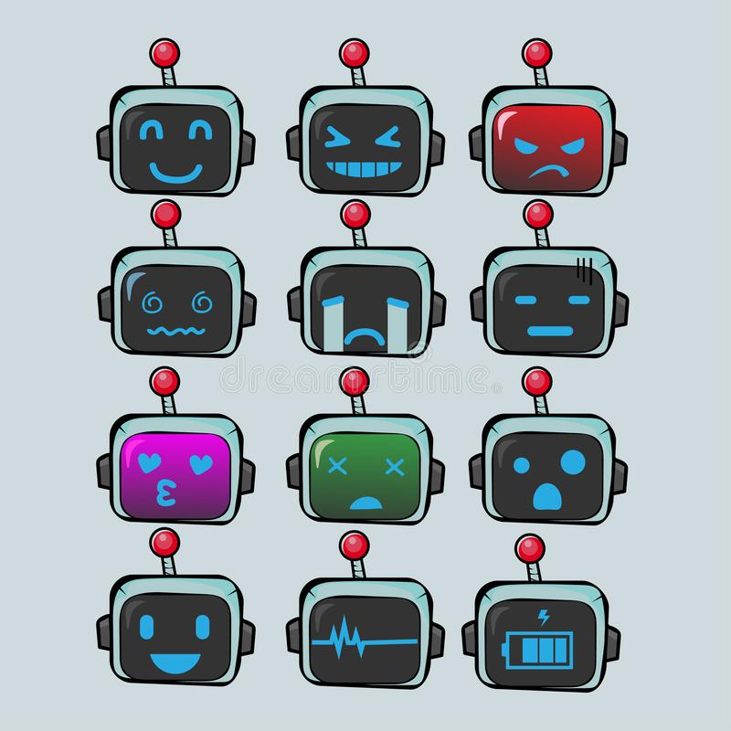 Download robot face emoticon or emoji collection stock illustration illustration of different character