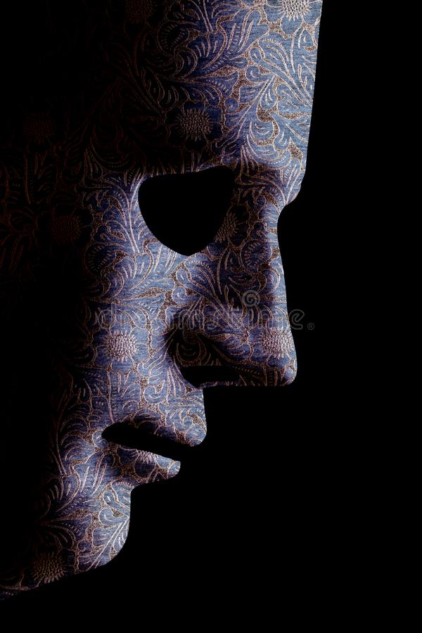 AI robotic face profile close up material pattern stock image