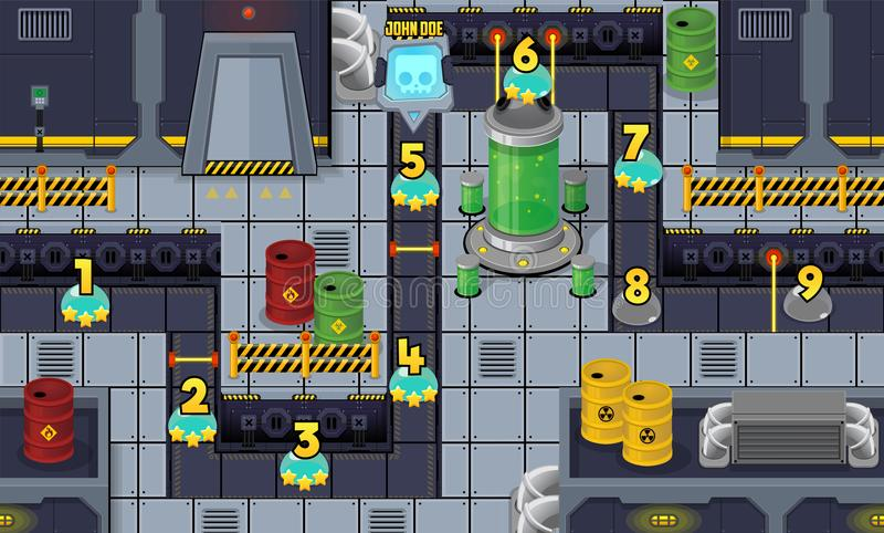 Robot Factory Game Level Map. Illustration of sci-fi robot factory environment for creating level map for adventure or puzzle games vector illustration