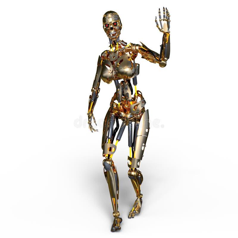Robot femelle illustration stock