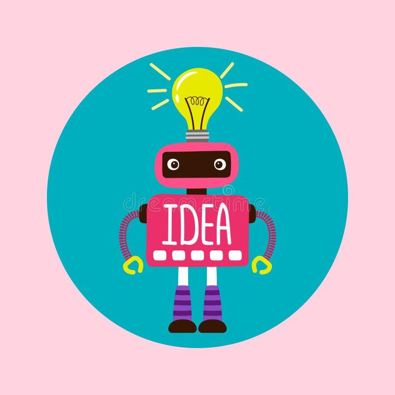 Robot femelle de bande dessinée avec la nouvelle illustration de vecteur d'idée illustration libre de droits