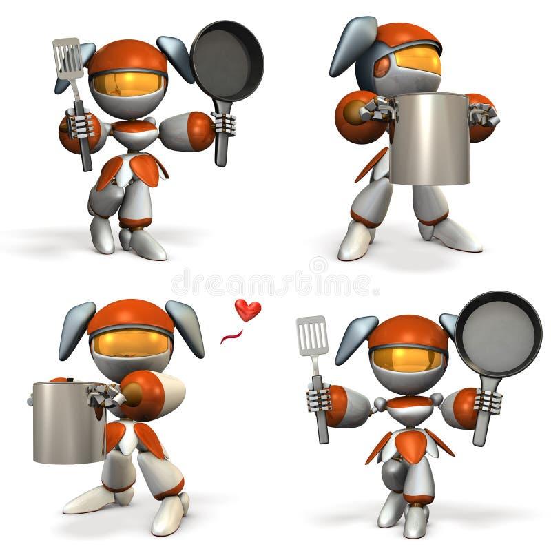 Robot femelle mignon qui est bon pour la cuisson Quatre éléments illustration stock