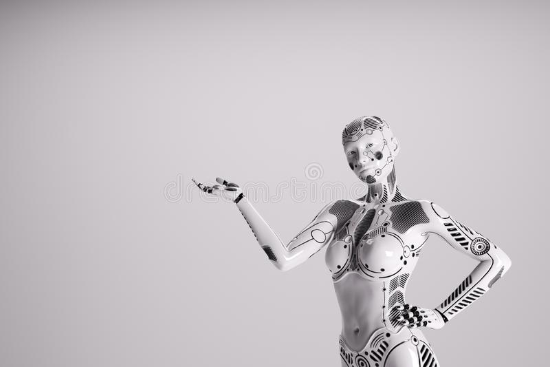 Robot femelle moderne sur le fond blanc illustration libre de droits