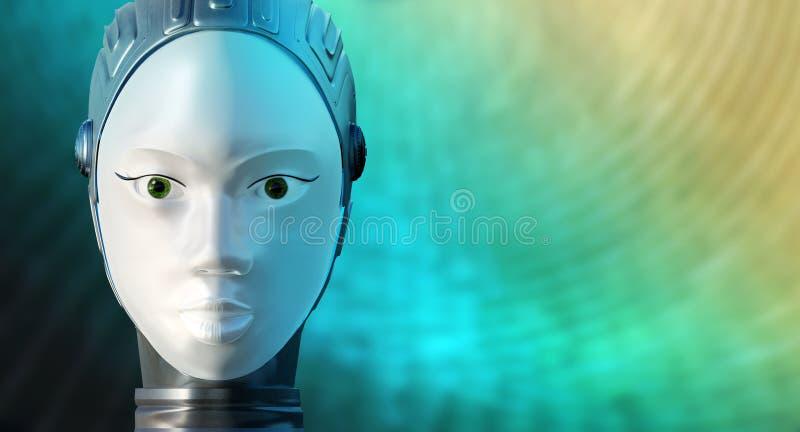 Robot femenino conceptual contra fondo verde y amarillo ilustración del vector