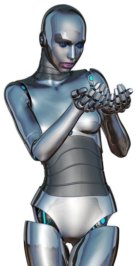 Robot femenino de Android del Cyborg que lleva a cabo algo aislado stock de ilustración
