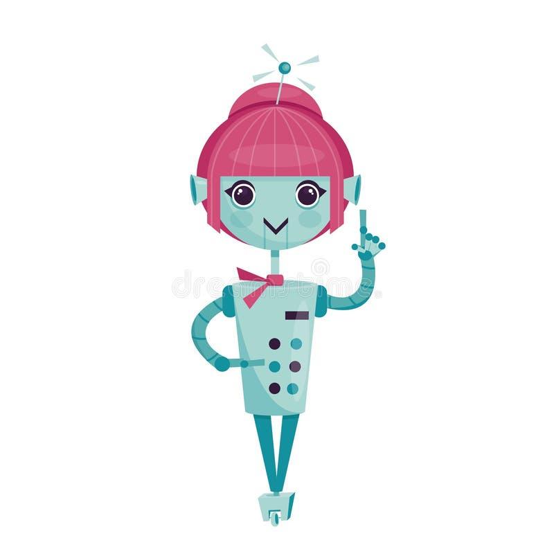 Robot femenino de la historieta ilustración del vector