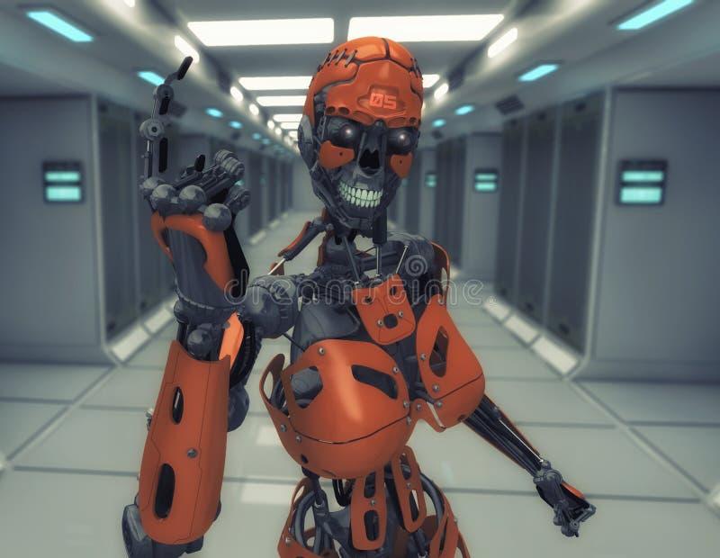 Robot femenino número uno ilustración del vector