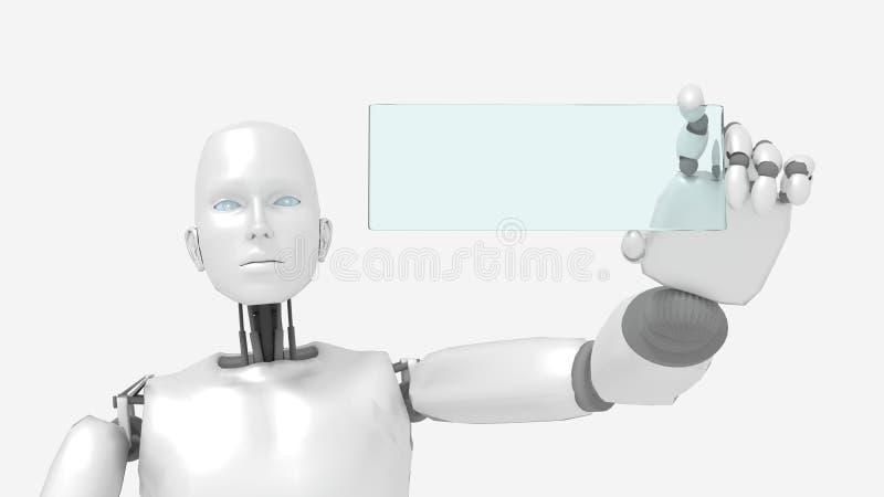 Robot femminile che tiene un segno di vetro vuoto con lo spazio di scrittura illustrazione di stock