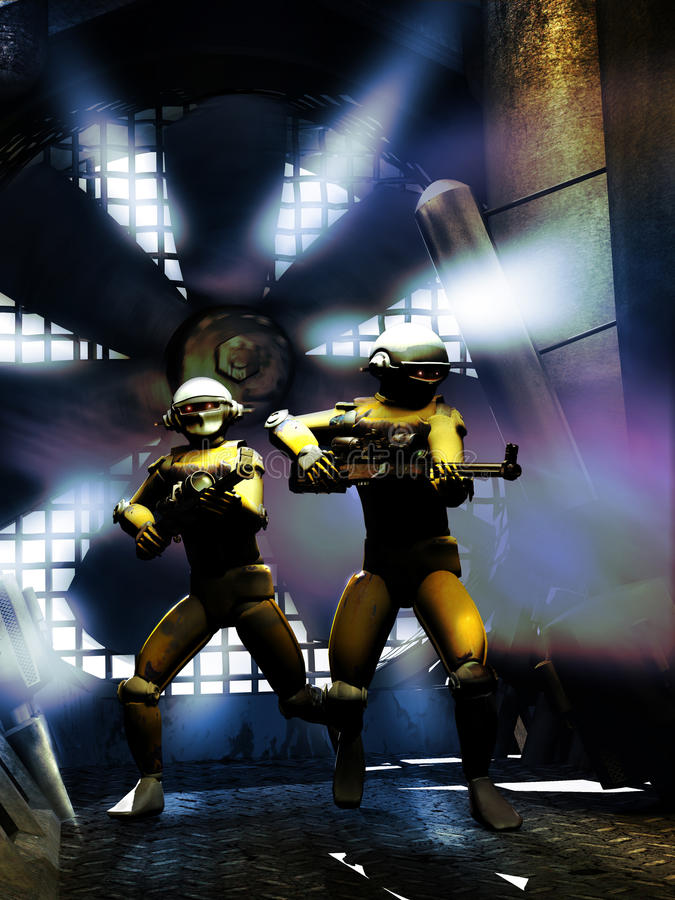 Robot fight. Two robots with their weapons, watching inside a corridor close to a big fan stock illustration