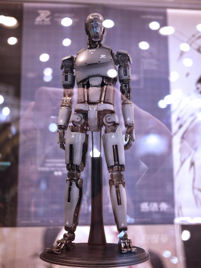 Robot Figure in TOY SOUL 2015 in Hong Kong stock images
