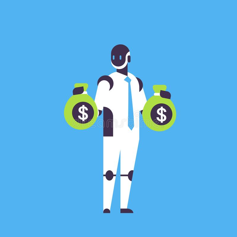 Robot financial dollar consultant holding money bags bot helper growth wealth concept artificial intelligence blue. Background flat full length vector vector illustration