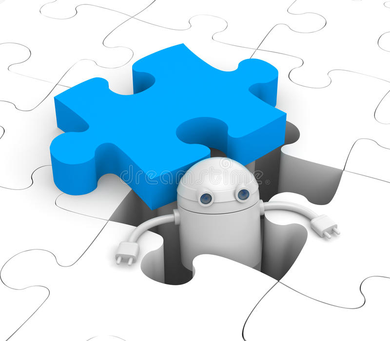Robot find the necessary puzzle vector illustration