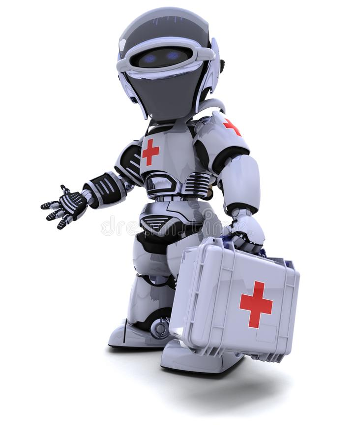 Robot with first aid kit royalty free illustration