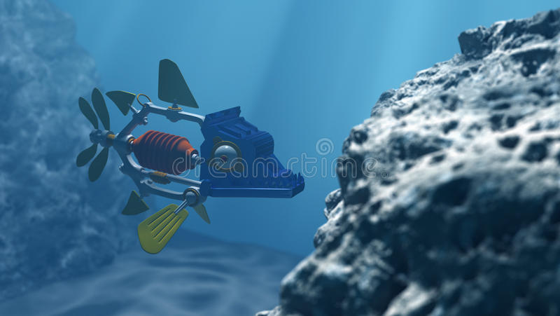 Robot fish in the deep water. 3D render fish robot dives in deep water royalty free illustration