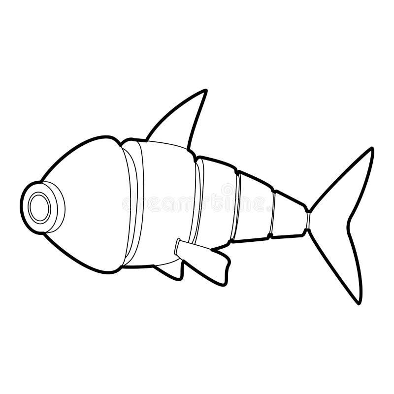 Robot fish icon outline stock illustration