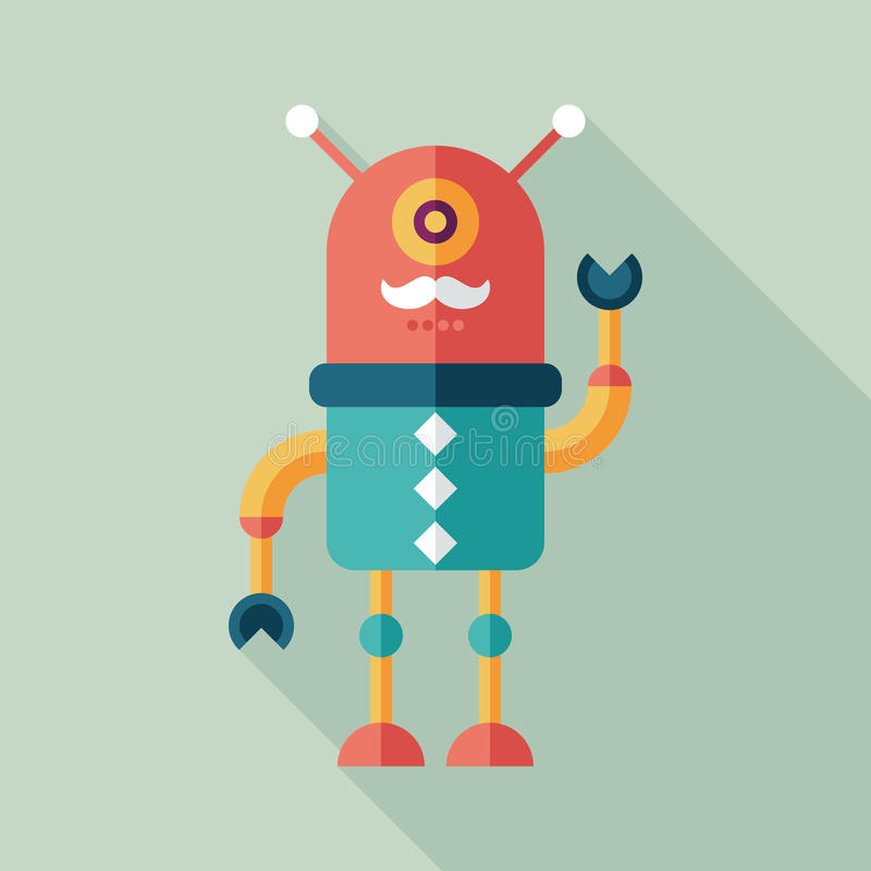 Robot flat square icon with long shadows. Set 2 royalty free illustration