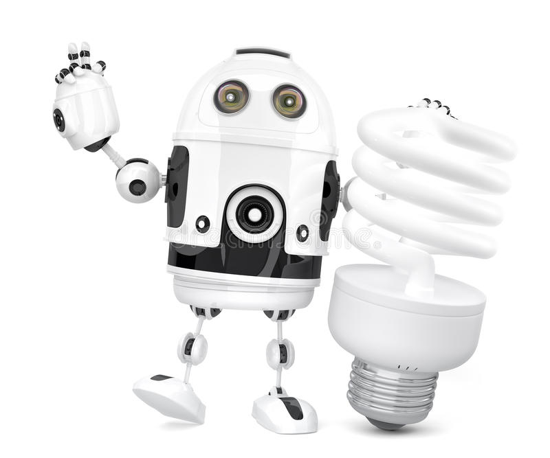Robot with fluorescent light bulb. 3D illustration. Isolated. Co. Ntains clipping path stock illustration