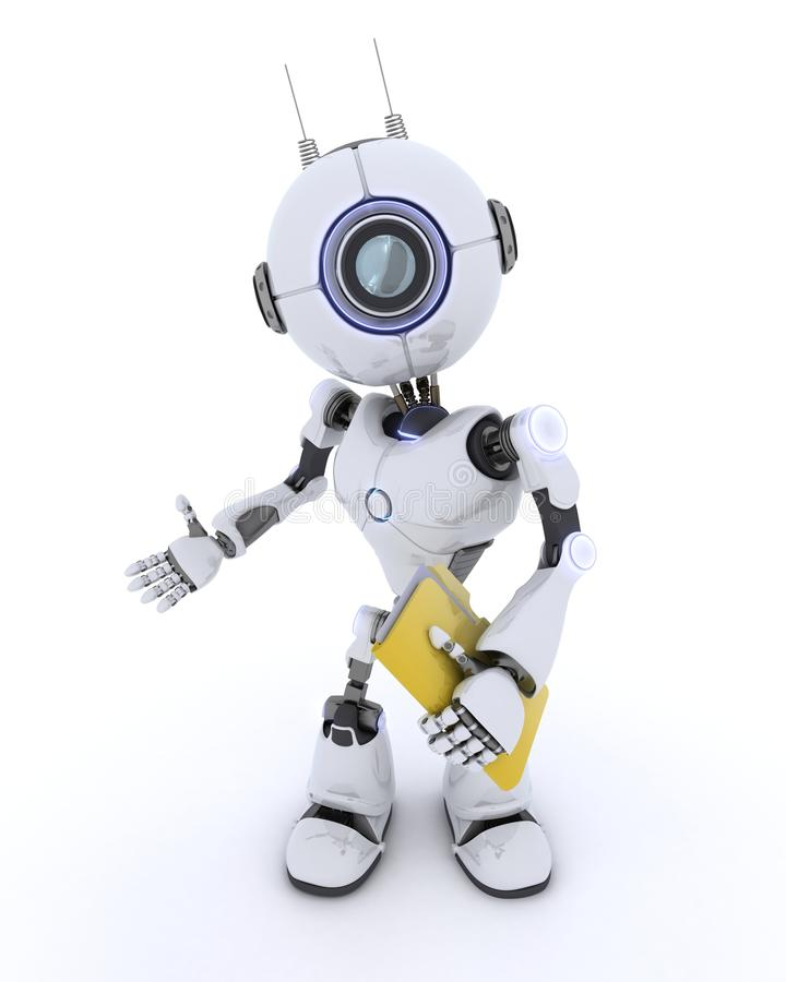 Robot with folder and documents stock illustration