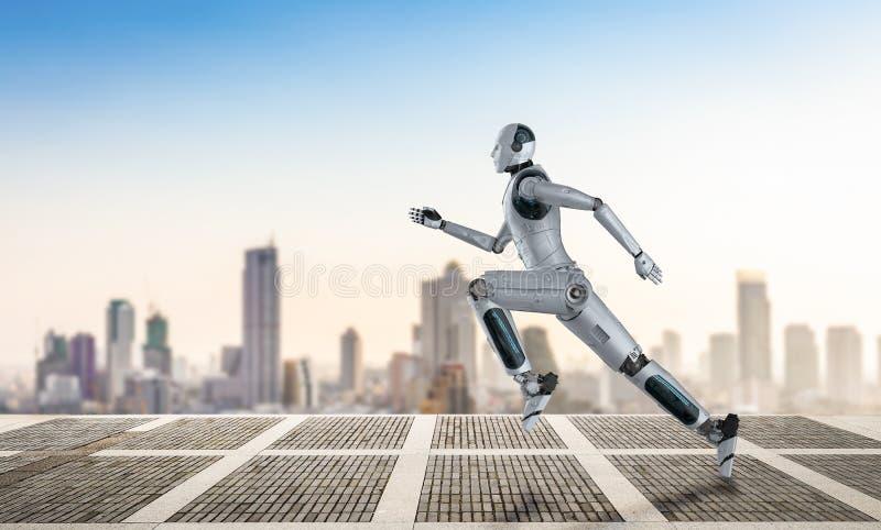 Robot fonctionnant ou sautant illustration libre de droits