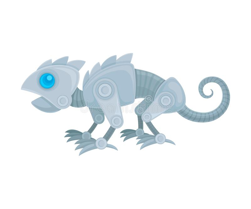 Robot in the form of a chameleon. Side view. Vector illustration on a white background. Gray metal robot in the form of a thin chameleon with a long tail. Side stock illustration