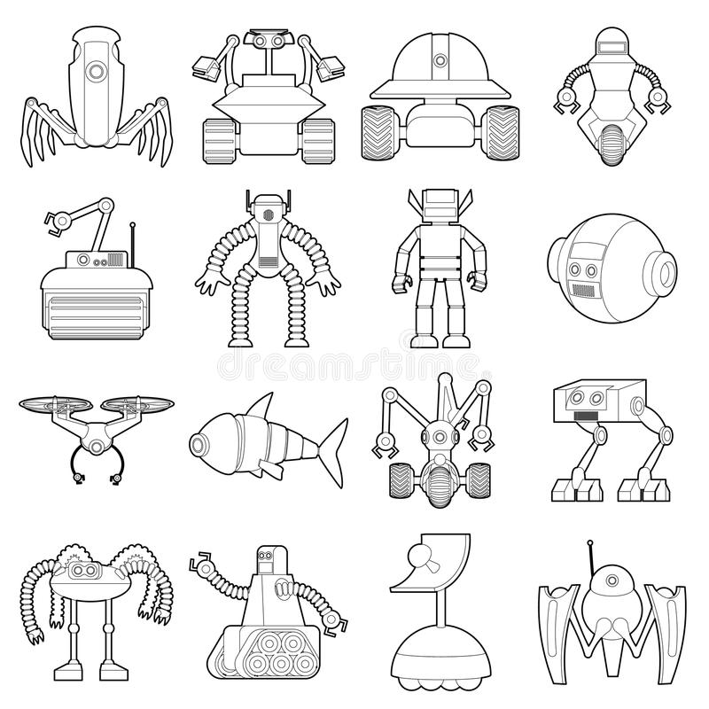 Robot forms icons set, outline style stock illustration