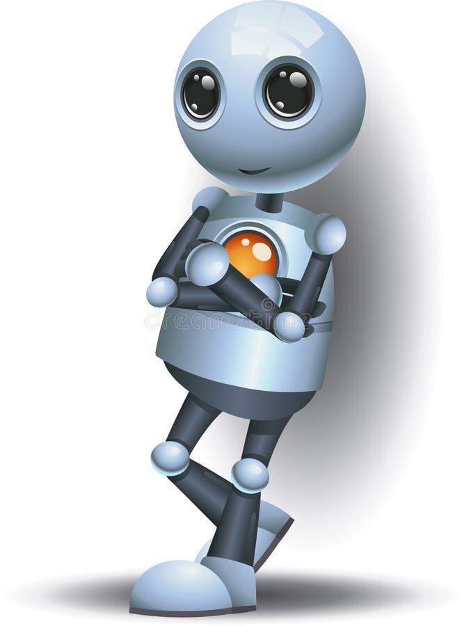 Robot frais de droid heureux petit se tenant sur le blanc d'isolement illustration de vecteur