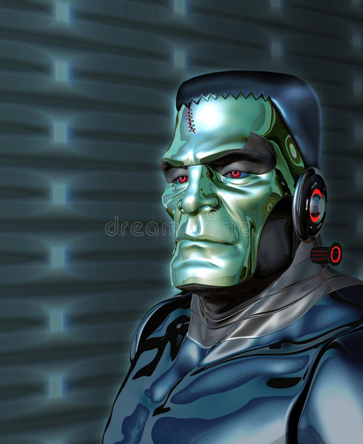 Robot Frankenstein - Artificial Intelligence Threat vector illustration