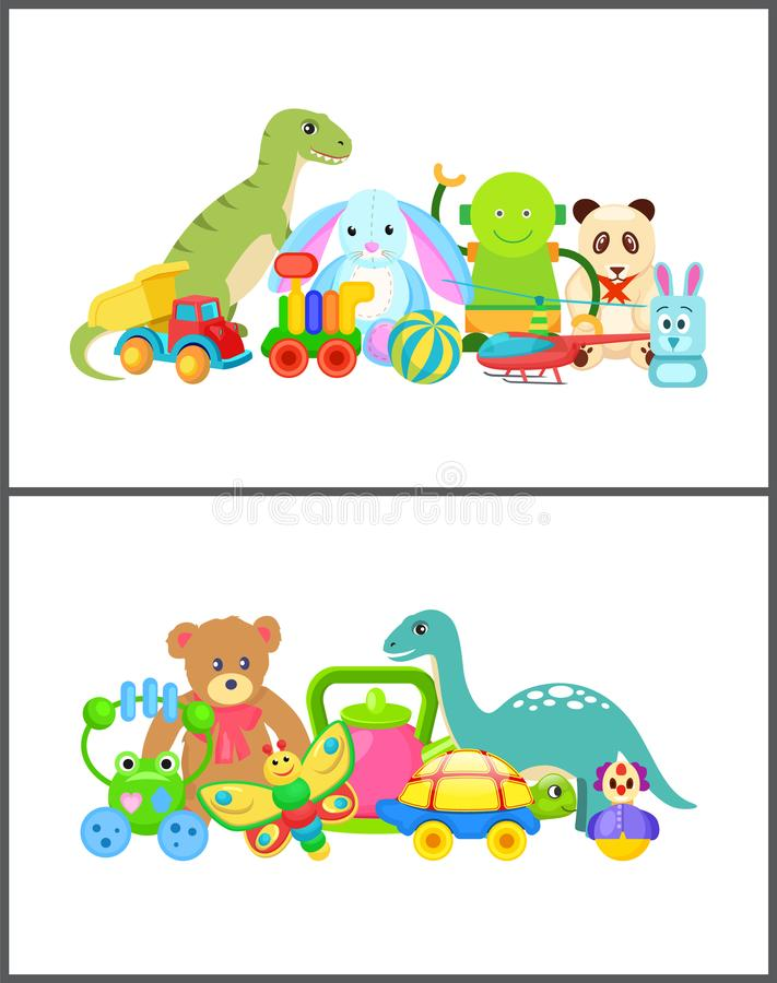 Robot and Frog Collection Vector Illustration royalty free illustration