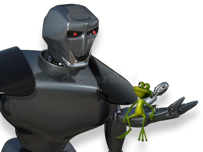Robot and the Frog vector illustration