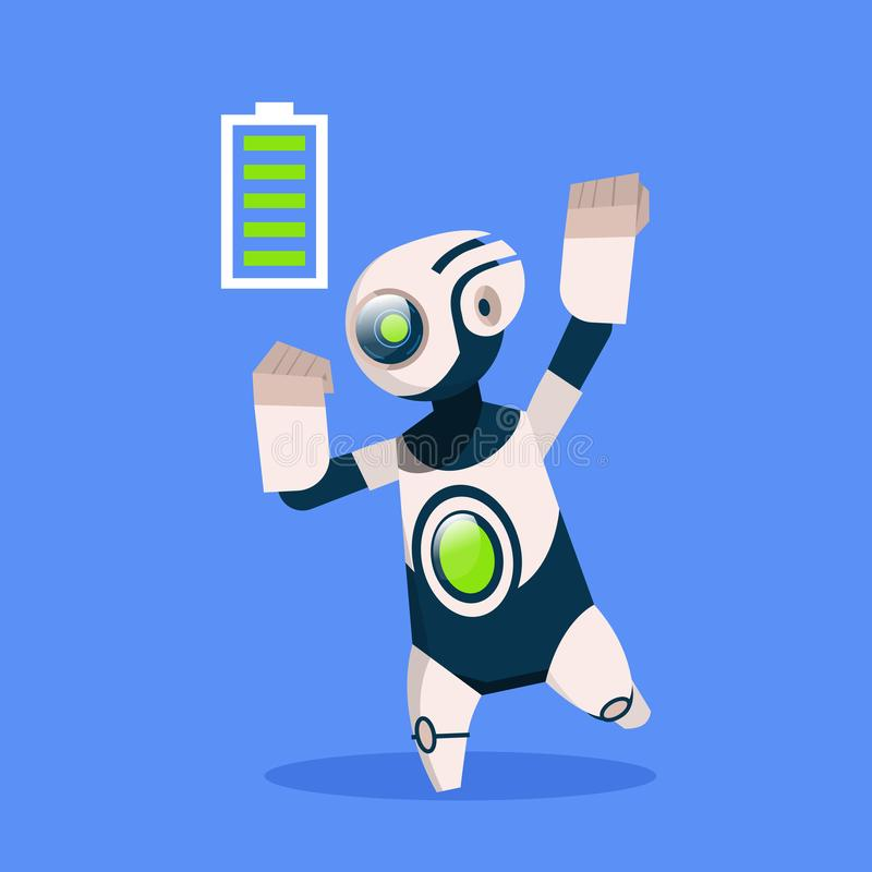 Robot with Full Battery Active Isolated On Blue Background Concept Modern Artificial Intelligence Technology. Flat Vector Illustration stock illustration