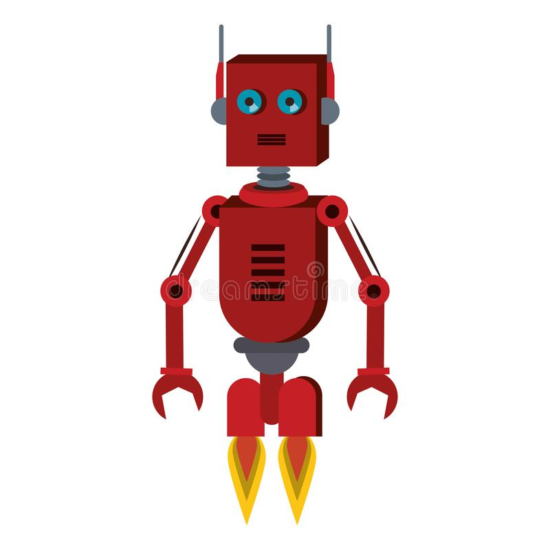 Robot funny character cartoon isolated vector illustration