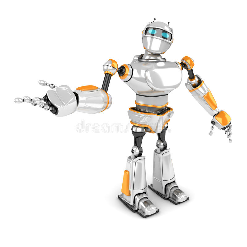 Robot futuriste blanc montrant le geste illustration de vecteur