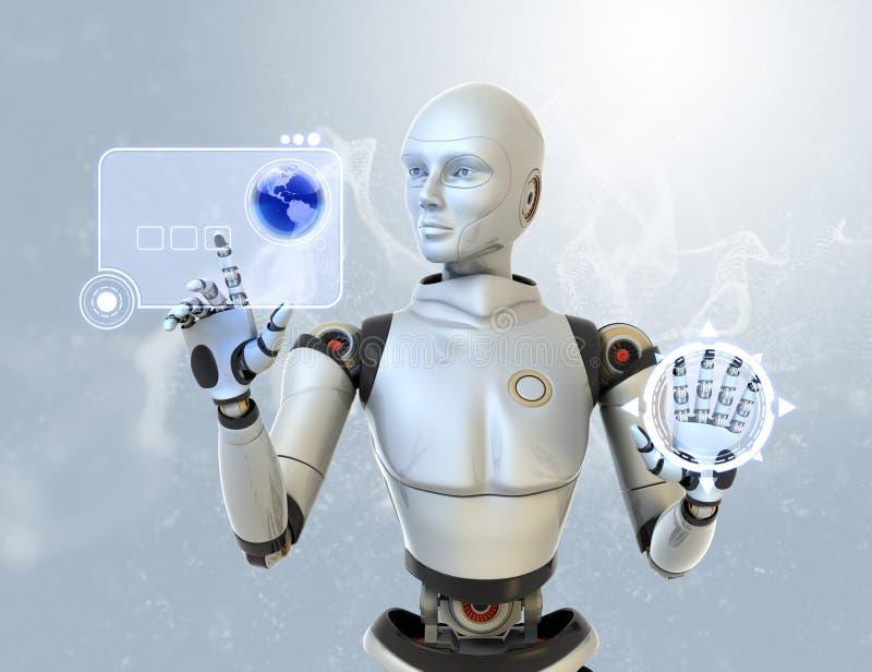 Robot and a futuristic interface. Robot using a futuristic interface royalty free illustration