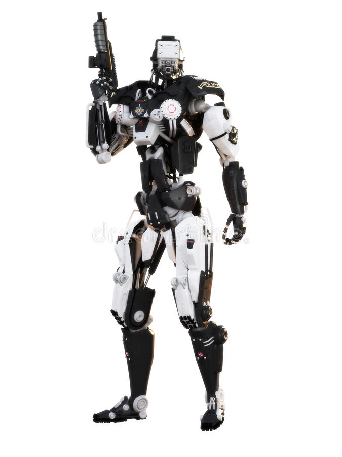 Robot Futuristic Police armored mech weapon royalty free stock photo