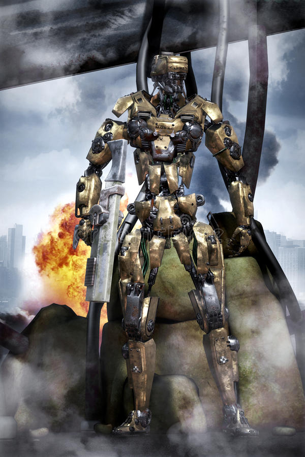 Robot futuristic soldier in combat stock illustration