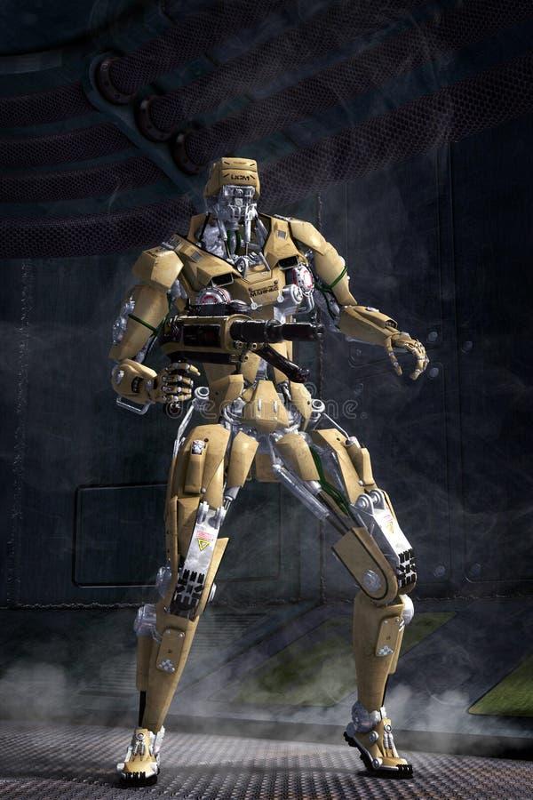 Robot futuristic soldier vector illustration