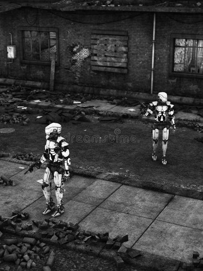 Robot futuristici del soldato in città rovinata illustrazione vettoriale