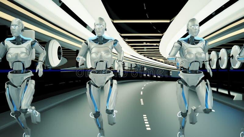 Robot futuristici di un umanoide, passare un tunnel di fantascienza illustrazione di stock