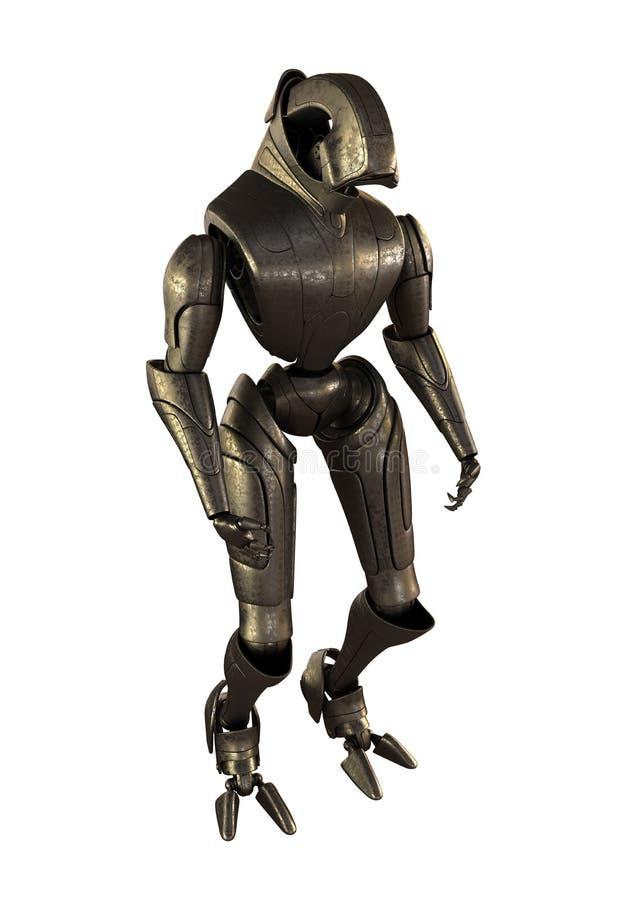 Robot futuristico d'acciaio illustrazione vettoriale