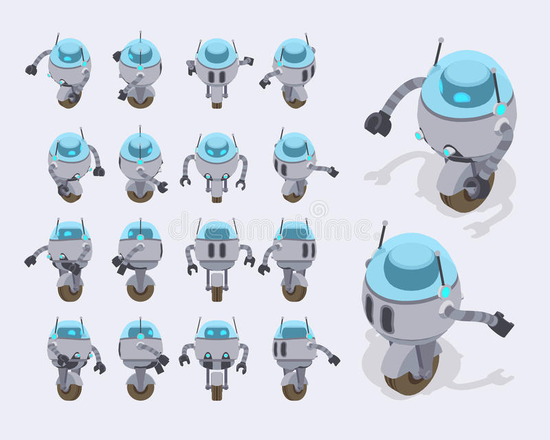 Robot futuristico isometrico illustrazione vettoriale
