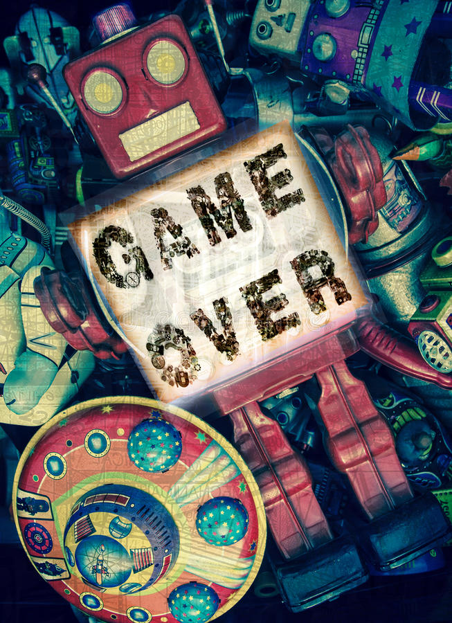 Robot game over stock photo
