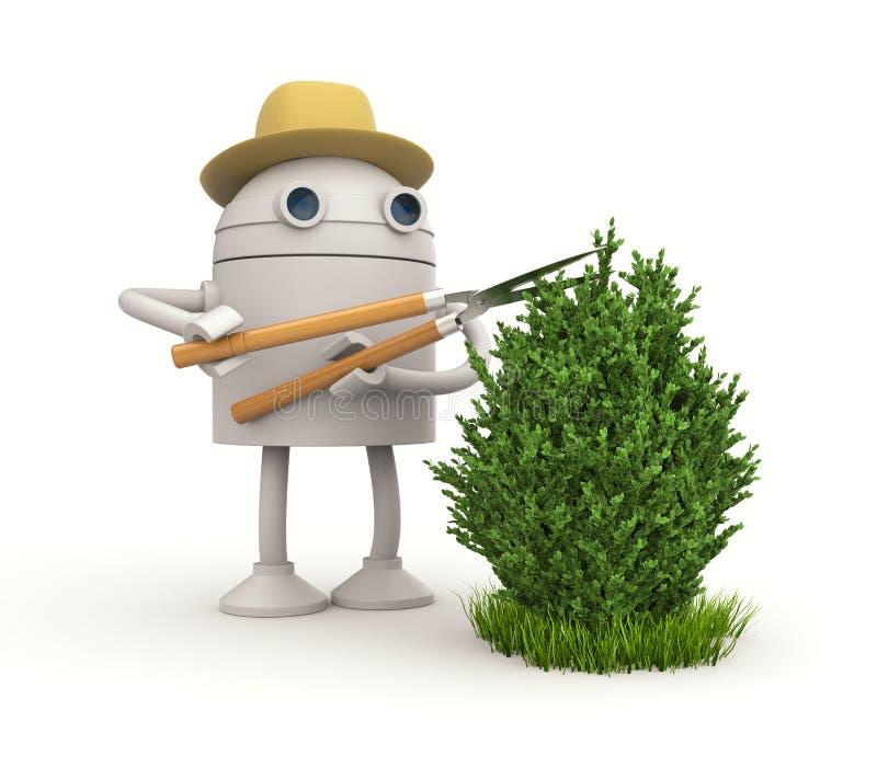 Robot gardener. Robot cuts bush royalty free illustration