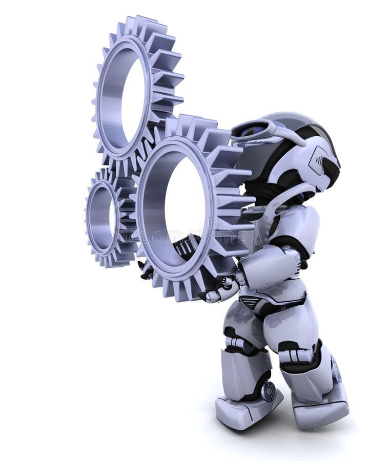 Robot with gear mechanism. 3d Render of a robot with gear mechanism stock illustration