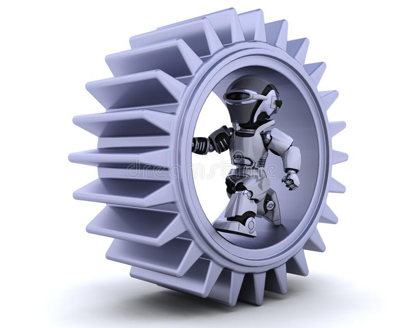 Robot with gear mechanism stock illustration