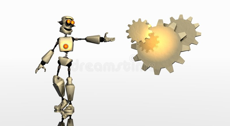 Robot with gears vector illustration